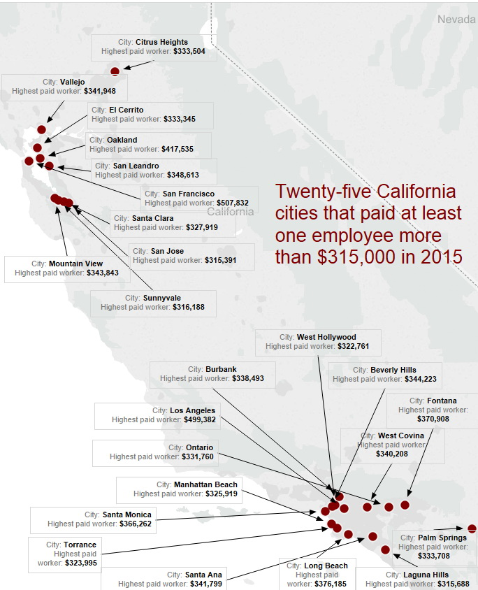 25 California cities that paid at least one municipal worker more than $315,000 in 2015