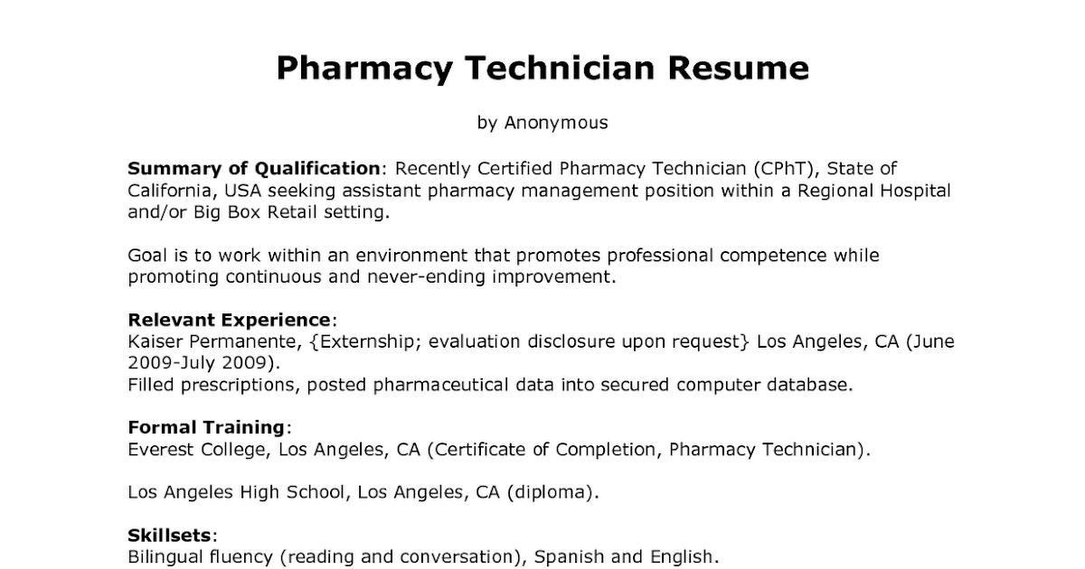Sample Resume for Pharmacy Technician  Sample Resumes