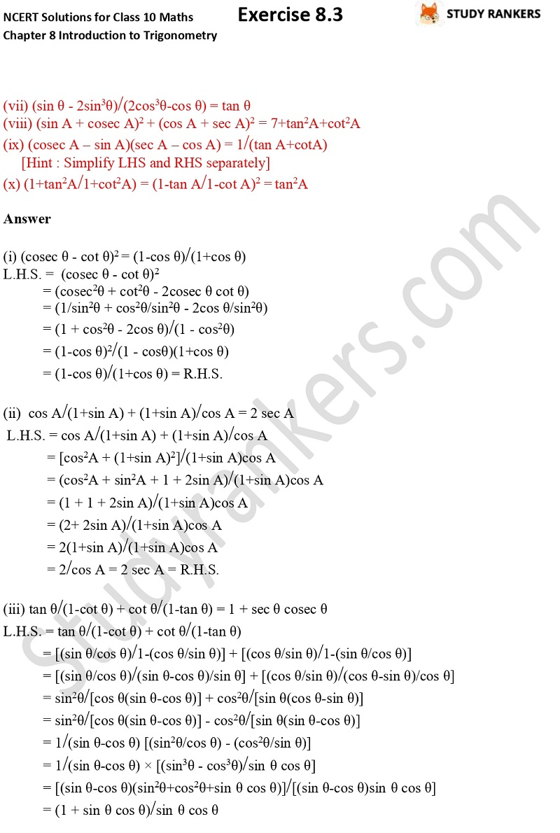 NCERT Solutions for Class 10 Maths Chapter 8 Introduction To Trigonometry Exercise 8.4 Part 4