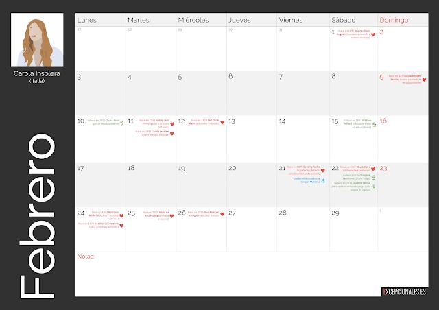 Calendario Excepcionales febrero 2020