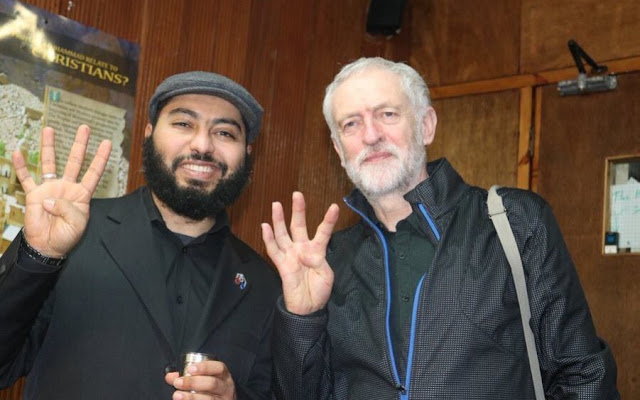"Jeremy Corbyn doing the famous Rabaa sign in 2017 ""Telegraph"""