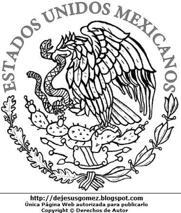 Dibujo del Escudo de México para colorear pintar e imprimir. Escudo hecho por Jesus Gómez