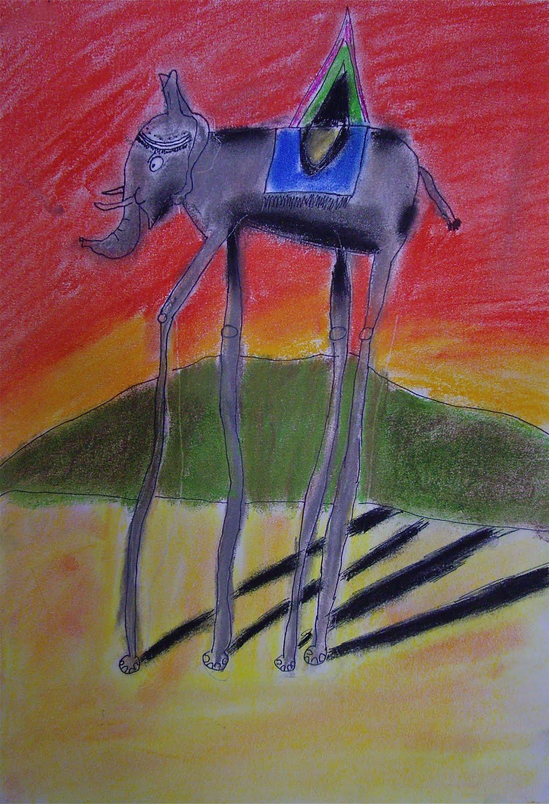Use Your Coloured Pencils Dali Elephants