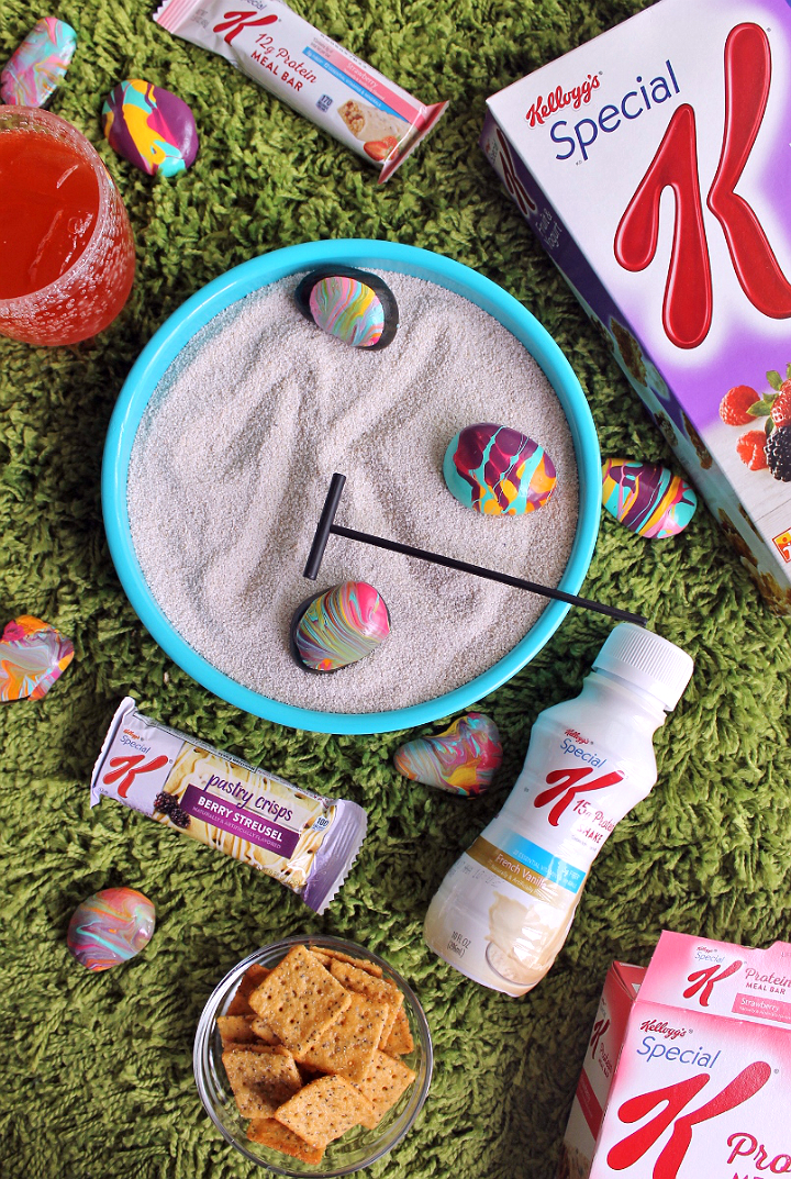 #NourishWhatsNext with this colorful and cheap DIY table top zen garden project. You'll love the pour paint rocks! (AD)