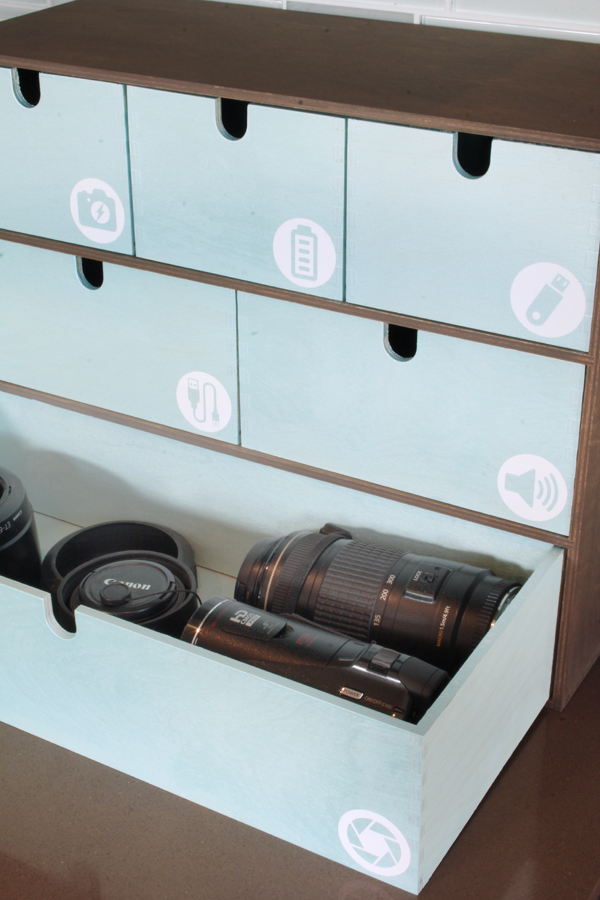 Organizing camera lenses in IKEA Moppe
