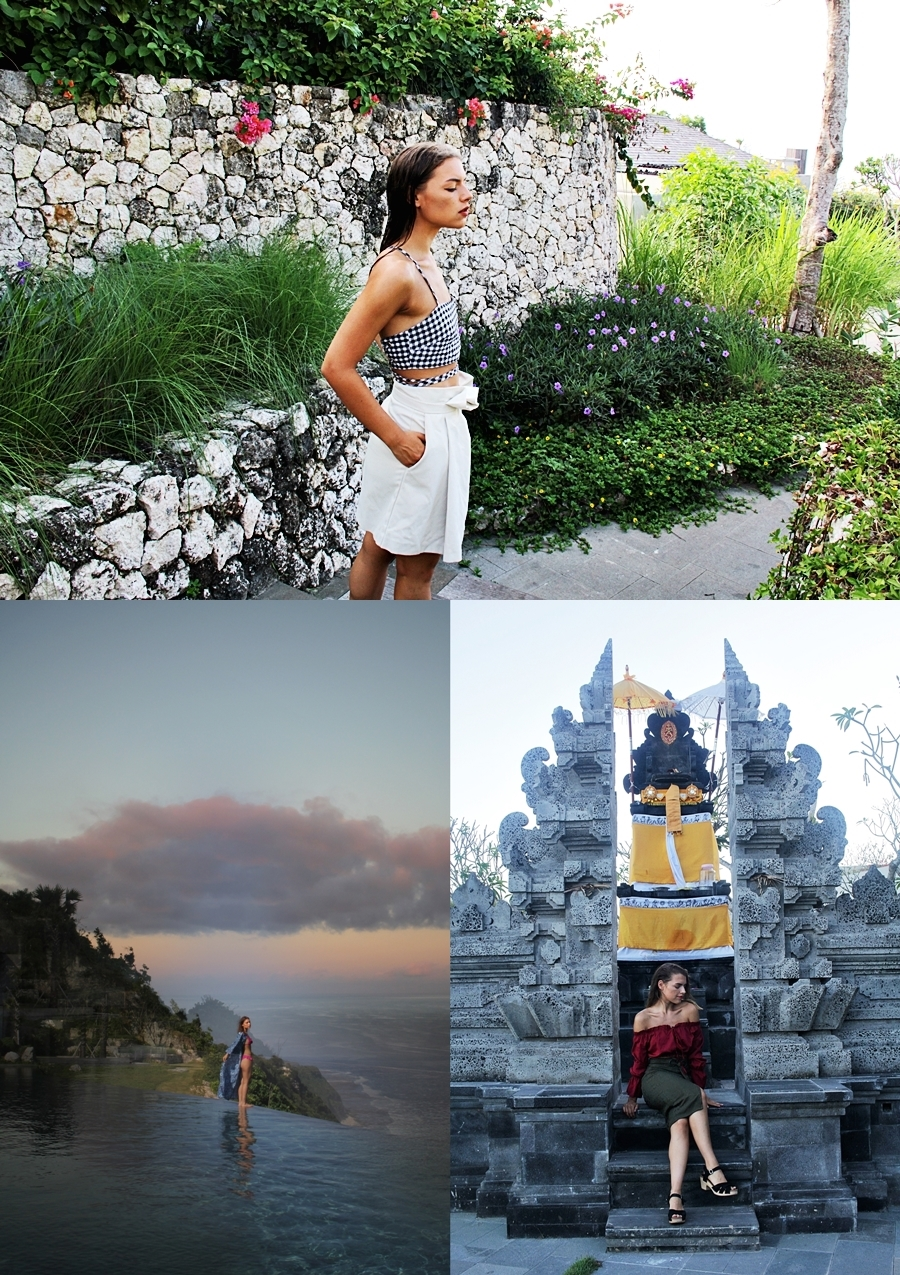 bali temple sunset fashion