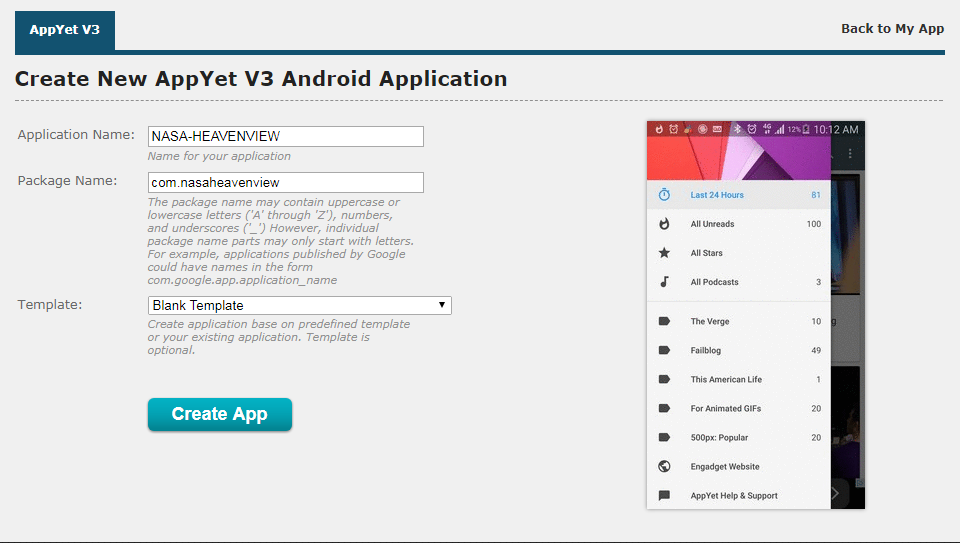 How to convert RSS/atom Feed to an android app - appyet-dummy