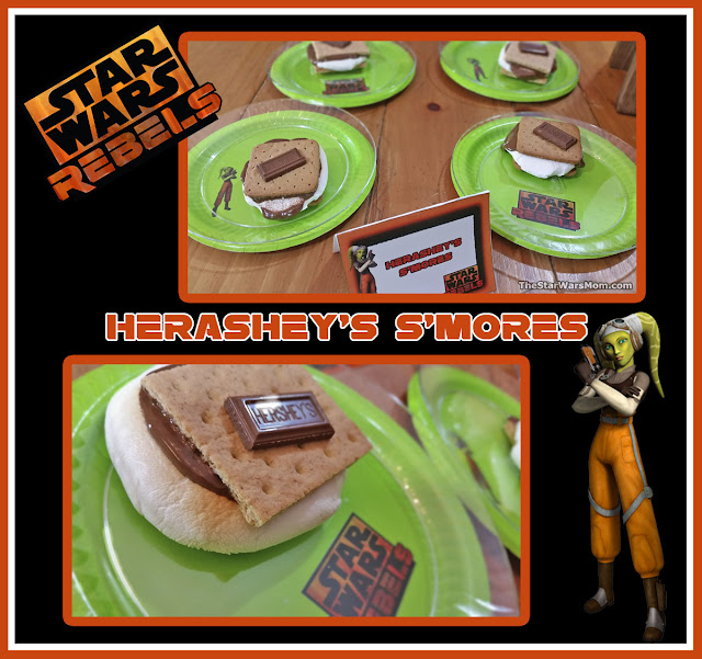 Star Wars Rebels Hera Syndulla Party Food Recipe and Food Label Tent Card  - Herashey's S'mores