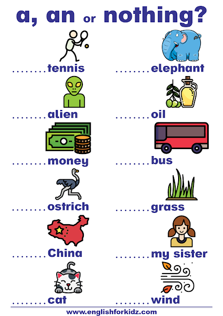 A, an exercises worksheets to learn English articles for beginners