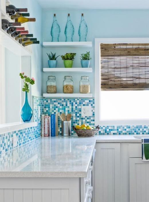 Blue Glass Tiles Kitchen Backsplash Idea