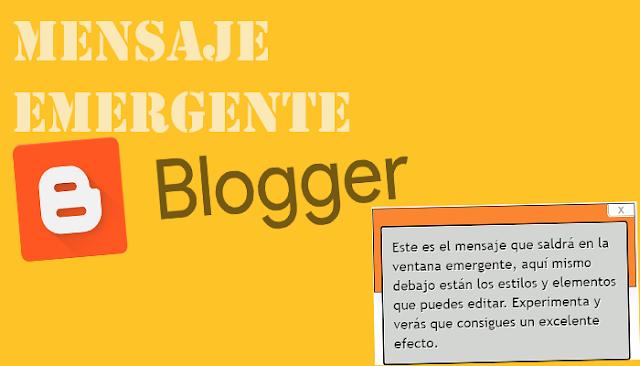 Añade un mensaje emergente en Blogger