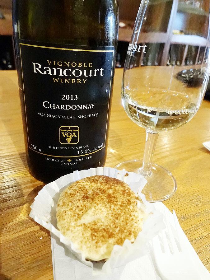 Rancourt Chardonnay 2013 (87 pts) with tiramisu