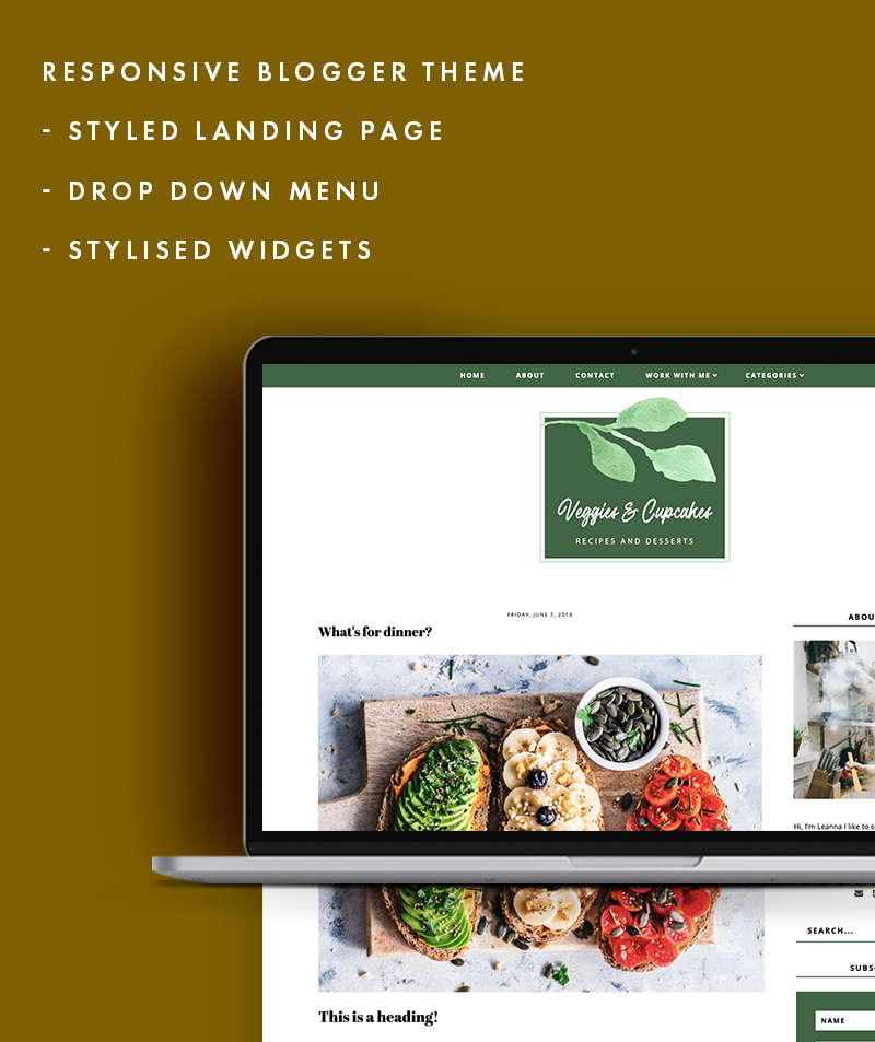 Features of veggies and cupcake blogger template