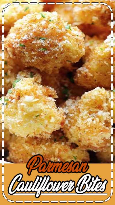 Parmesan Cauliflower Bites - Baked on parchment at 375 instead of frying and used garlic powder, onion powder, and chili powder instead of Emeril's Creole