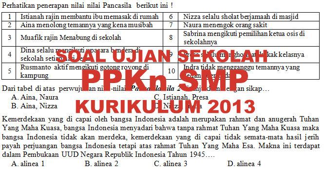 Soal Dan Kunci Jawaban Ujian Sekolah Ppkn Smp Kurikulum 2013 Tahun Pelajaran 20129 2020 Didno76 Com