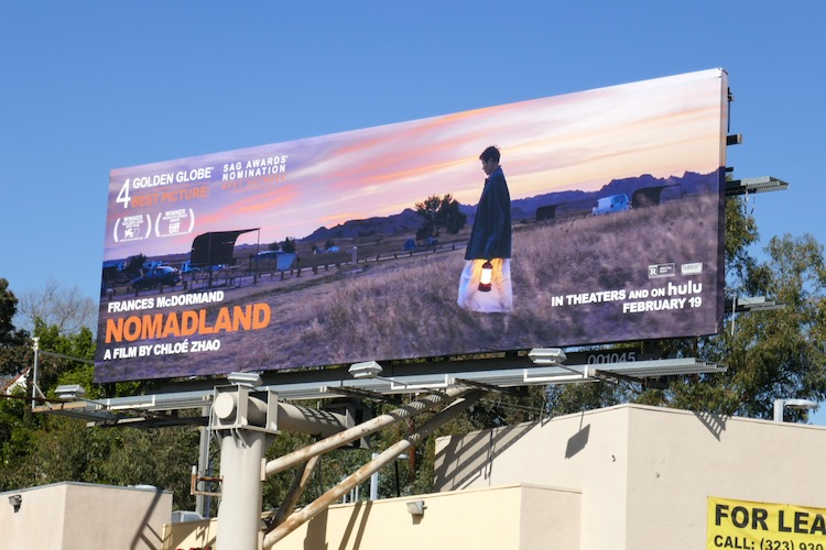 Nomadland Hulu film billboard
