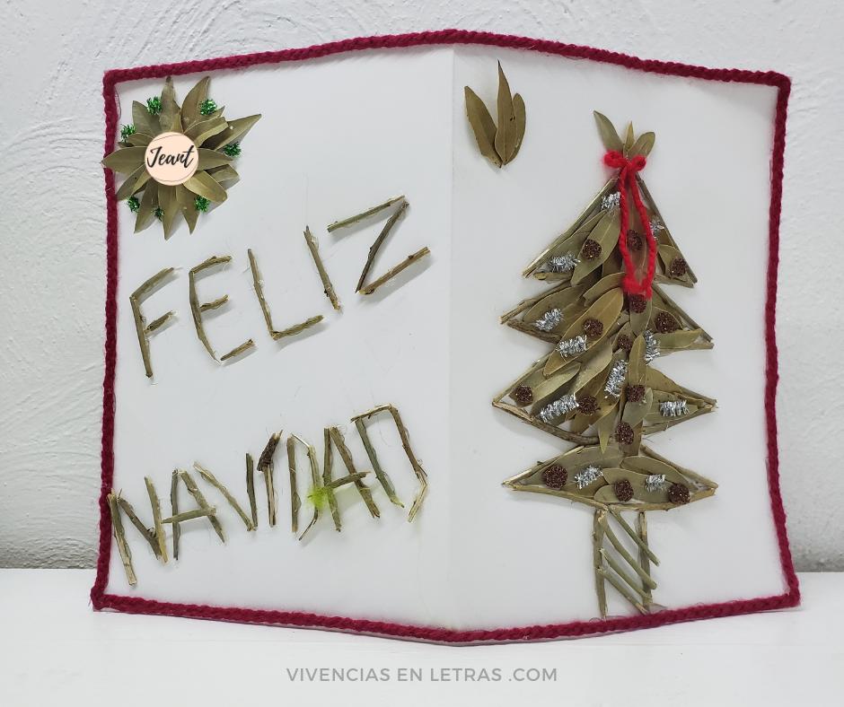 idea de tarjeta navideña hecha en casa