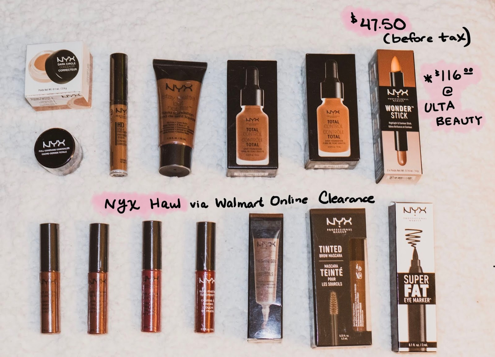 NYX Professional Makeup Haul, concealer, soft matte lip cream, lipstick, lipgloss, clearance, foundation, matte foundation, drop foundation, eyebrow mascara, eyebrow gel, eyeliner