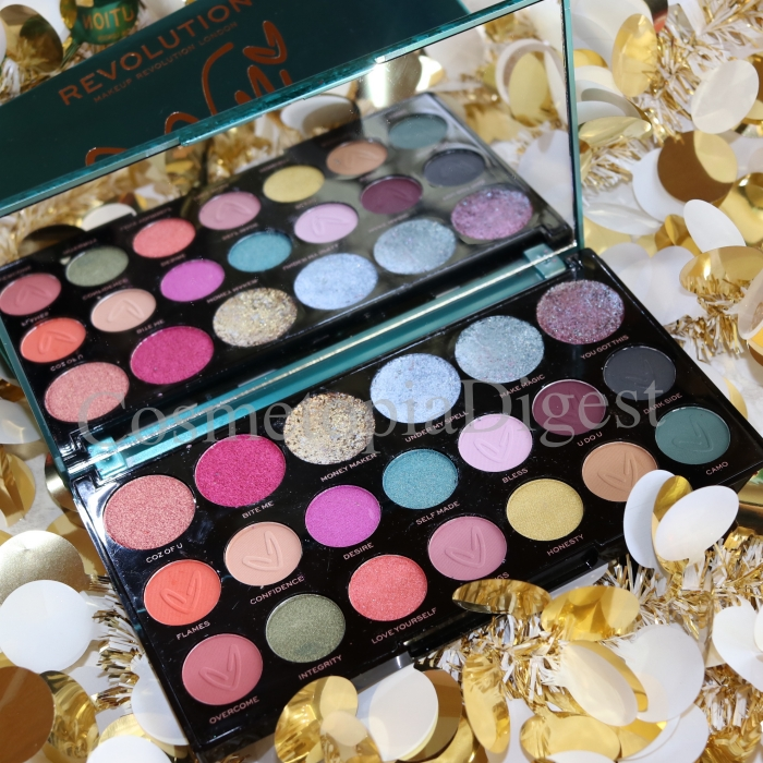 Review and swatches of the Revolution x Carmi Make Magic Palette, and a duochrome eye makeup tutorial.