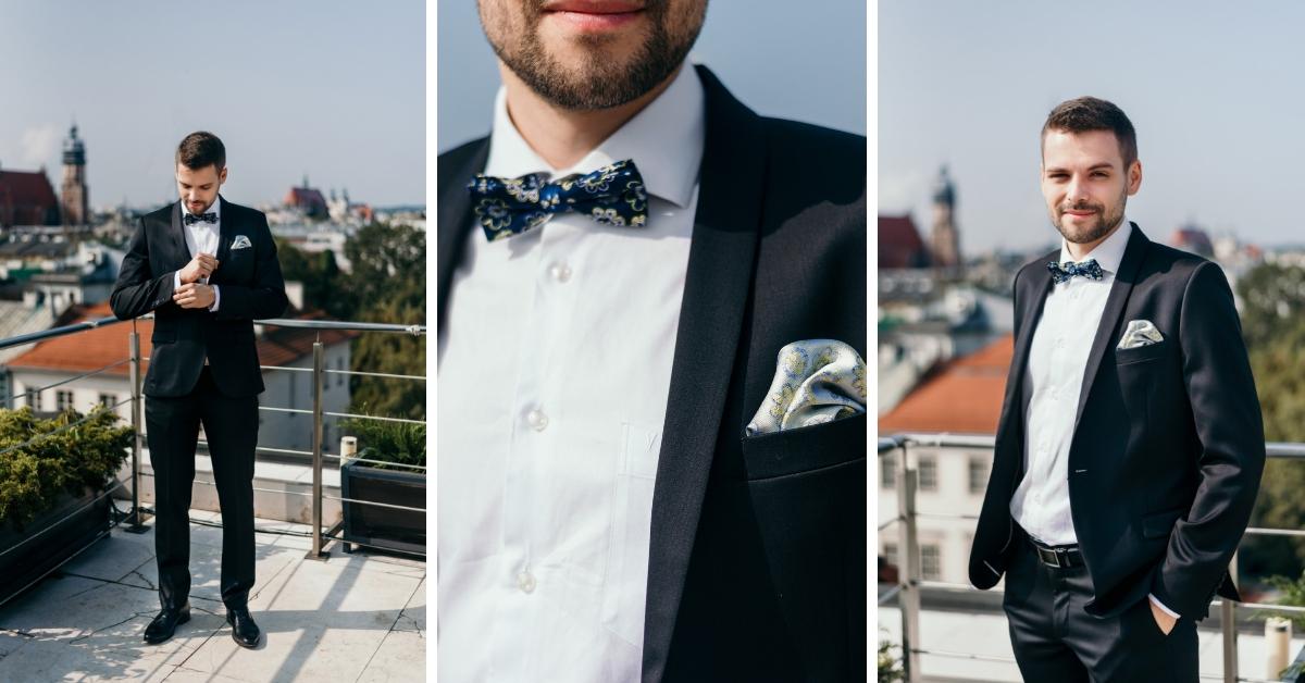 Klasyczny garnitur ślubny.