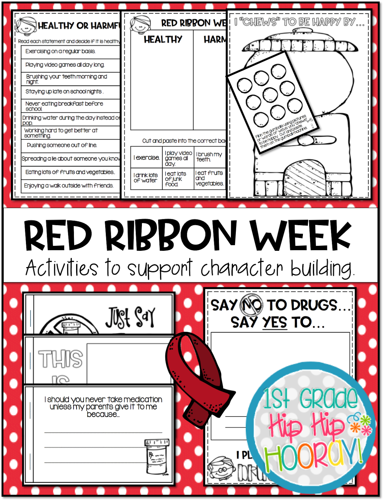 1st Grade Hip Hip Hooray Red Ribbon Week Activities