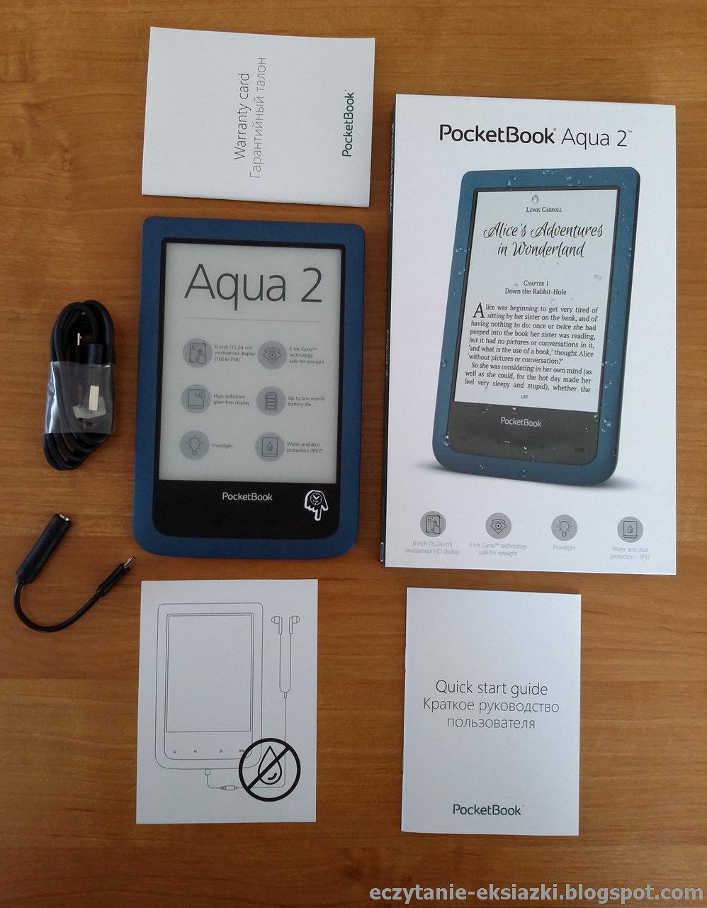PocketBook Aqua 2 – czytnik z zawartością pudełka
