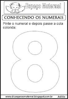 Numeral oito para colorir