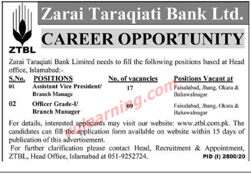 Latest Zarai Taraqiati Bank Limited ZTBL Jobs 2020