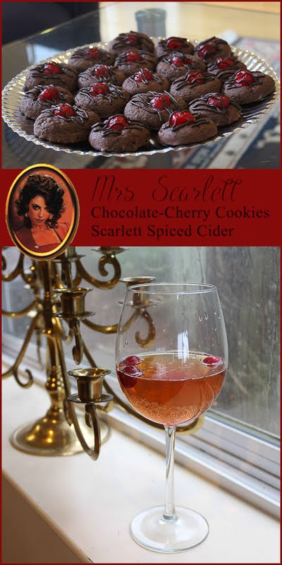 Ms Scarlett's chocolate cherry cookies and Scarlett Spice cider sangria