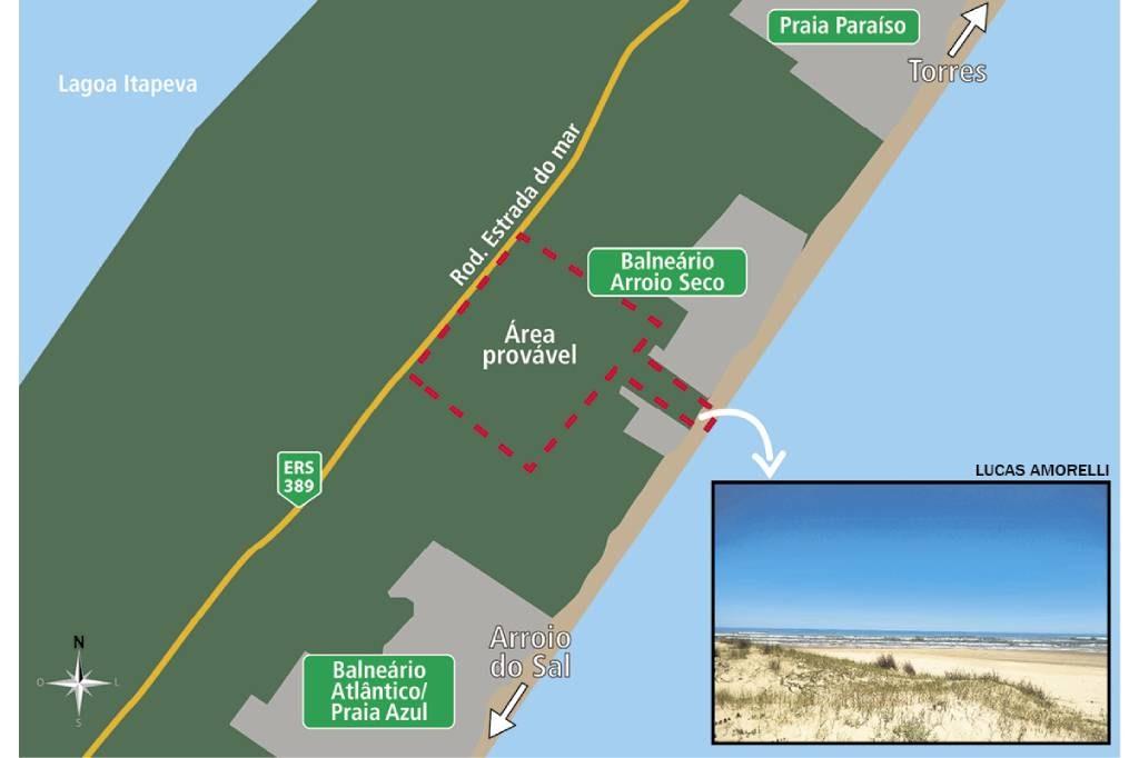 Ao centro, provável área onde deve ser construído o porto