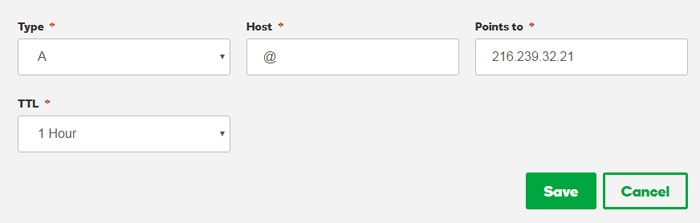Add @ Add Hostname and Add IPv4 Address 216.239.34.21 to Points