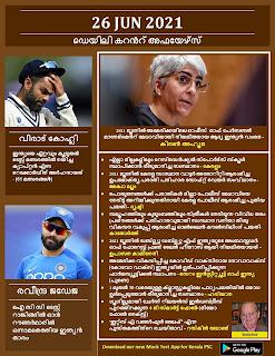 Daily Malayalam Current Affairs 26 Jun 2021