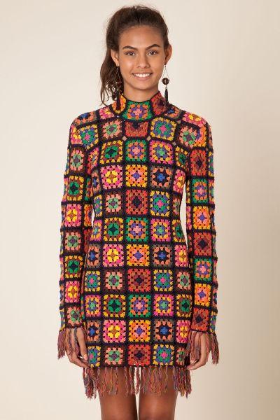 vestido quadrados coloridos croche farm