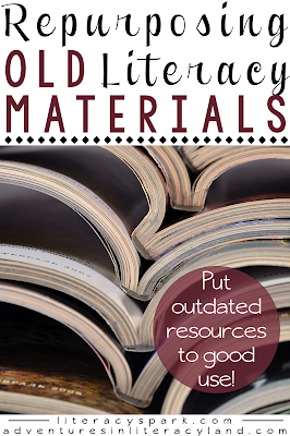 Have you inherited a mess of old curriculum materials and workbooks?  Here are some useful ways to repurpose old basals, workbooks, and readers in your literacy classroom.