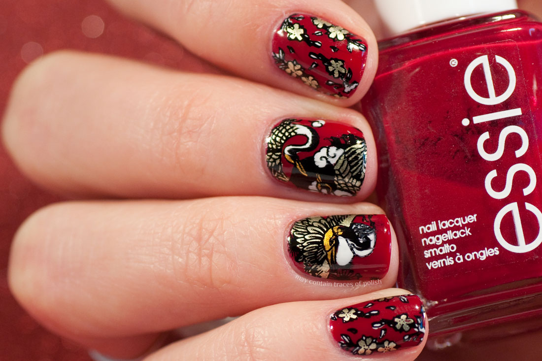 Chinese New Year's Manicure - Red stamped MoYou Suki 17 nail art