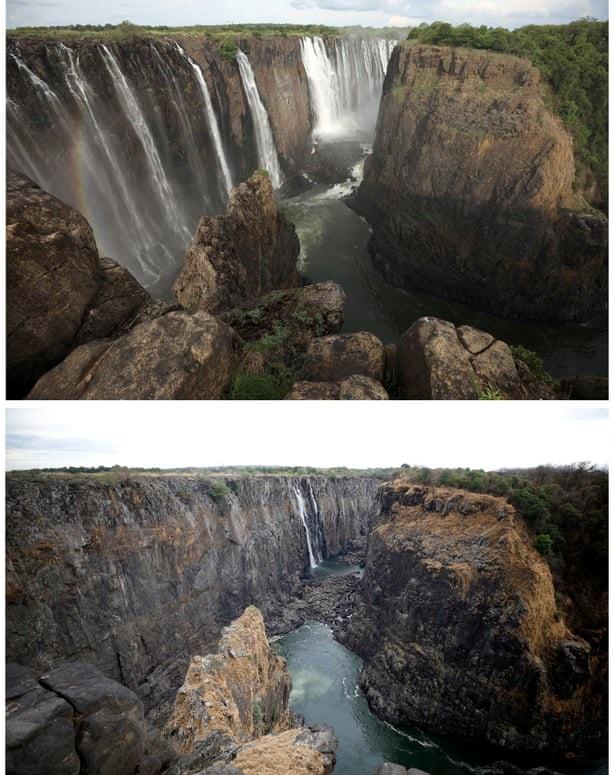 Une photo combinée de l'eau qui coule des chutes Victoria (en haut) et pendant la sécheresse actuelle.