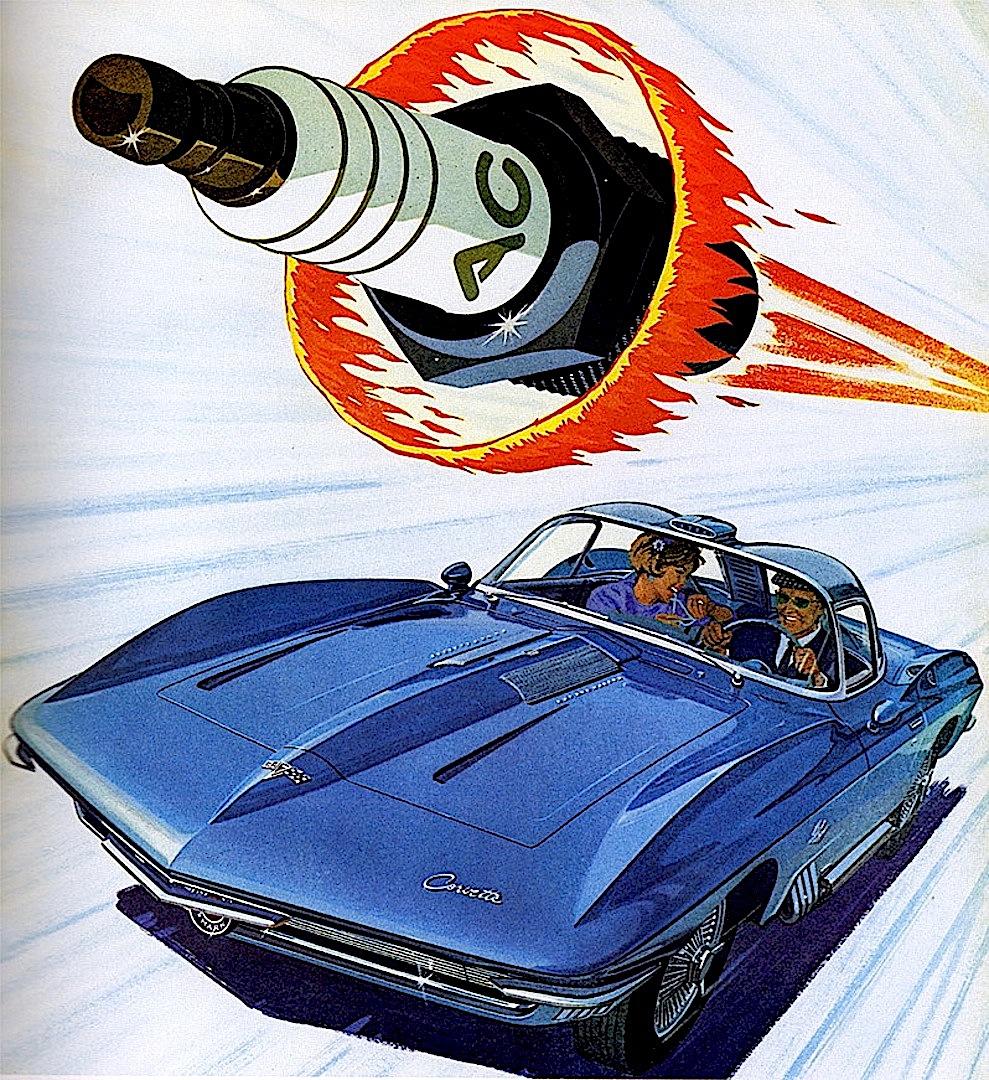 a 1960s advertising illustration, AC sparkplugs, Corvette