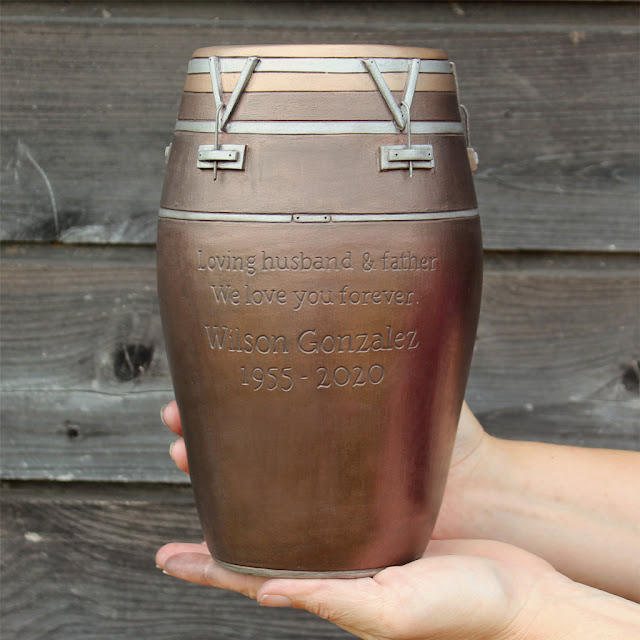 custom art conga drum urn