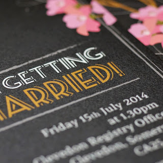 Blossom chalkboard wedding invite