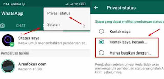 Cara Privasi Status WA