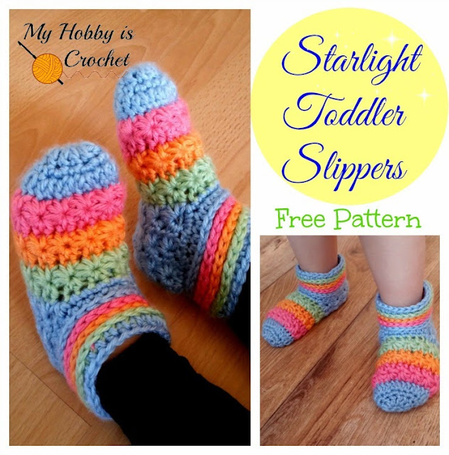 Free Crochet Patterns For Childrens Slipper Boots : My Hobby Is Crochet: Starlight Toddler Slippers - Free ...