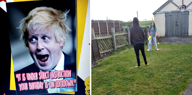 A Boris Johnson Birthday card and my girls playing swingball