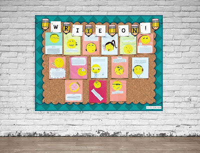 Bulletin Board decorated with student created emojis.