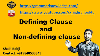 Defining Clause  and  Non-defining clause
