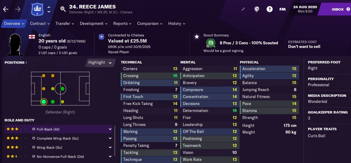 Football Manager 2021 - Reece James | FM21