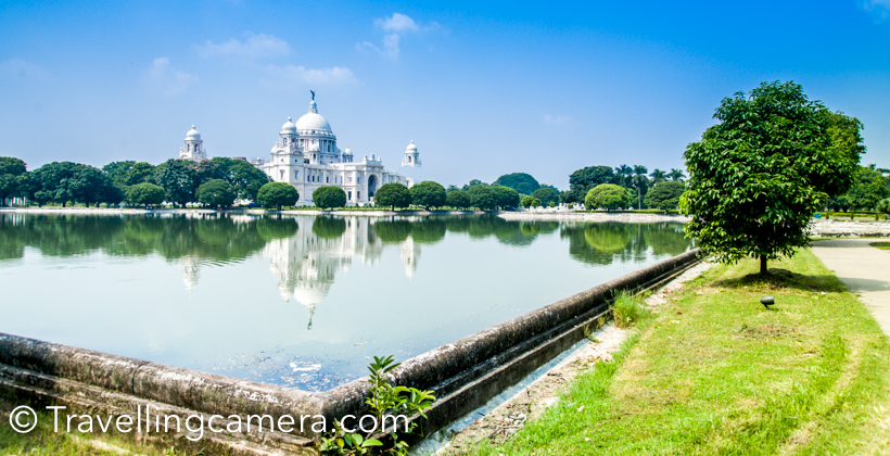Kolkata has lot of beautiful buildings from british era and Victoria memorial is one of the most beautiful & popular place in the city. During our trip to Kolkata, we visited Victorial memorial twice - once in the morning and once in the evening, when whole building was well lit. This post shares about Victoria Memorial, it's lush green gardens and some of the interesting facts about this beautiful building & other places around.The Victoria Memorial is a huge marble building in Kolkata  (Calcutta) city of West Bengal, India. Victoria Memorialis dedicated to the memory of Queen Victoria  and is now a museum and tourist destination and taken care of by Ministry of Culture. The Memorial is surrounded by grounds around Hooghly river  near Jawaharlal Nehru road.There are multiple gates for Victoria Memorial and the Memorial building is surrounding some water bodies & lush green lawns. We entered into the Victoria Memorial campus through main which is just front of the memorial.We turned towards left just after entering into the Victoria Memorial campus. There is a beautiful water body on the left side of the memorial, which offers great views of Victoria Memorial in water reflection.Different types of birds can be seen around lush green gardens of Victoria Memorial in Kolkata, but Cormorants were in abundance. Most of them were sitting around the edge of water body and it seems that campus has good amount of fish as well.The day we visited Victoria Memorial was being celebrated as National Tourism Day and entry to all monuments was free. Otherwise entry ticket for Victoria Memorial costs 10 rs and ticket for museum is extra,which is priced at 20 rs.Lot of folks come to Victoria Memorial for morning walk or jogging. There are monthly/yearly passes available for folks which cost 100 rs for month and 1000 rs for an year.Victoria Memorial opens at 10am in morning and closes at 5pm. Ticket counter closes at 5pm.  There are lot of maulshree trees around Victoria Memorial, whi