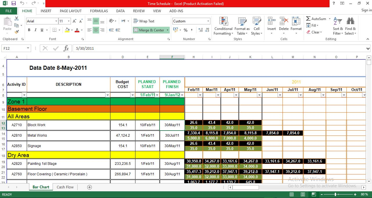 ُُExcel sheet to make Time schedule and cash flow