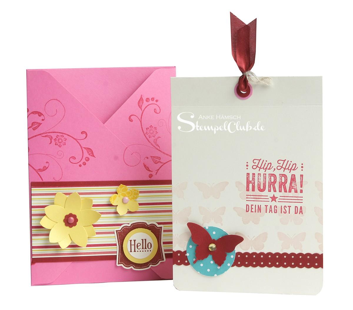 Grußkarte mit passendem Umschlag Hip Hip Hurra