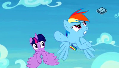 Twilight and Rainbow Dash flying, Dash looking annoyed as she glances off up and right