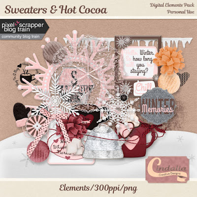 Digital elements, freebies, sweaters, hot cocoa, winter, January, 2020, digital scrapbooking, planner, snow, snowflakes, frost
